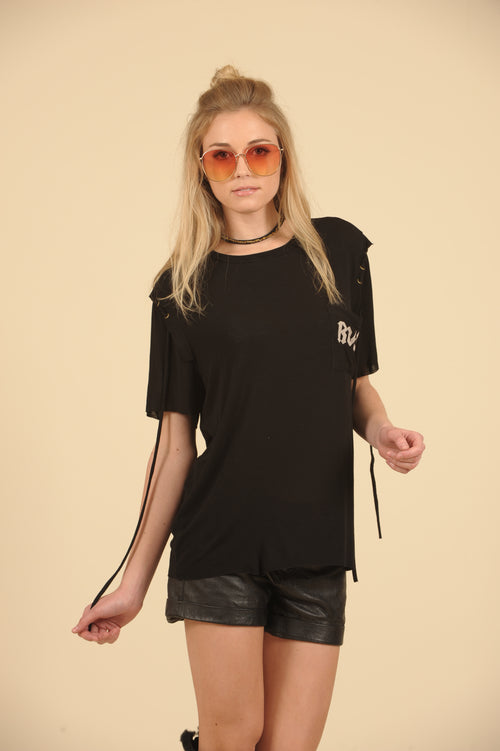 Black Rock Graphic Choker Lace Up Tee