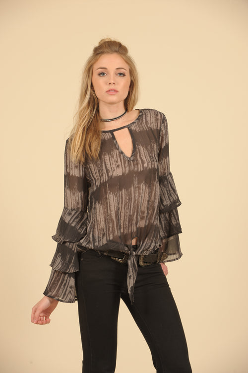 Tie Dye Chiffon Tiered Bell Sleeve Front Tie Blouse