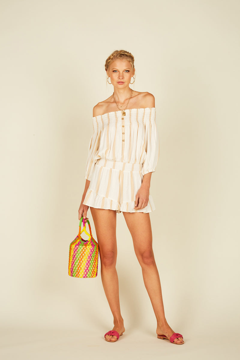 Stripe Texture Off Shoulder Romper