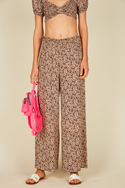 Pink Mini Leopard Wide Leg Pants