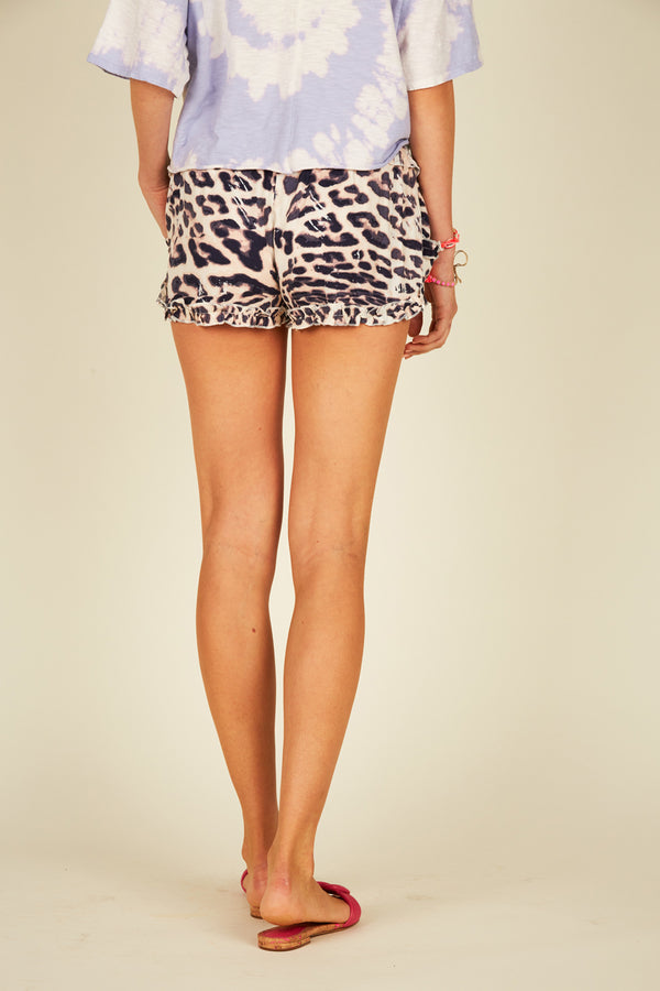 Brushed Leopard Ruffle Shorts