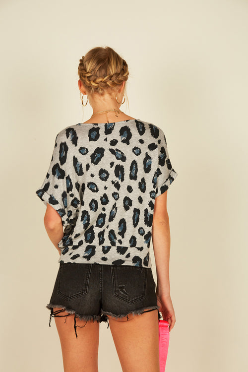 Leopard Twist Front Top