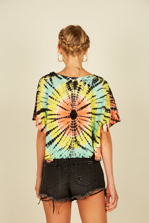 Multi Color Spiral Tie Dye Tee