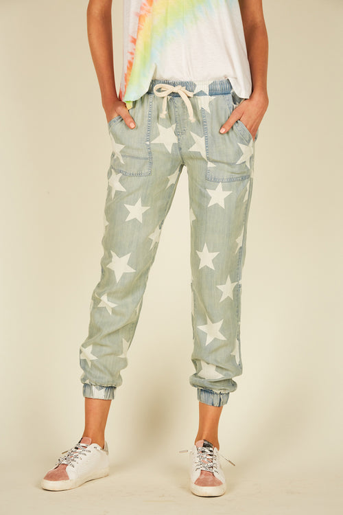 Vintage Denim Wash Star Printed Joggers