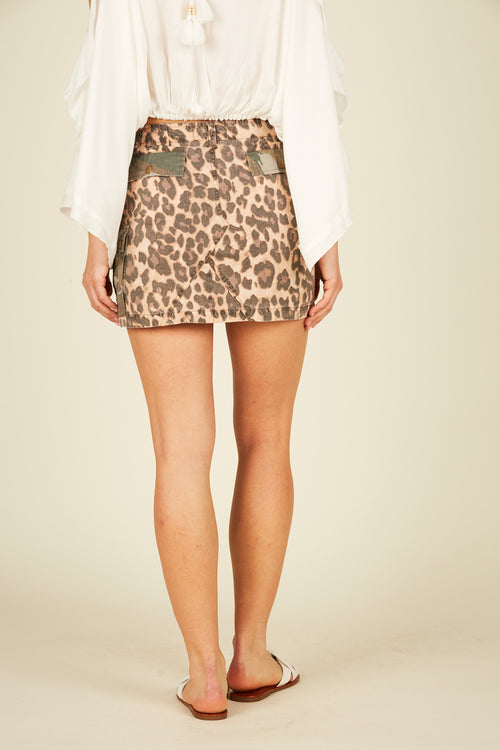 Soft Leopard & Camo Cargo Mini Skirt