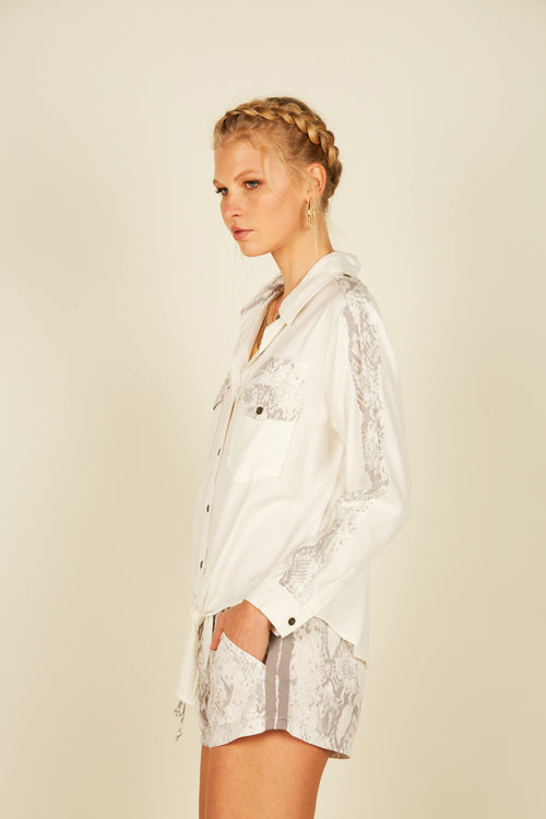 White Snakeskin Tencel Shirt