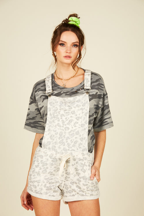 Grey Soft Leopard Overalls