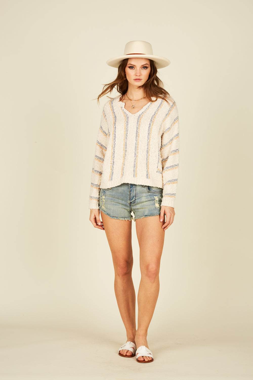Striped Chunky Long Sleeve Sweater