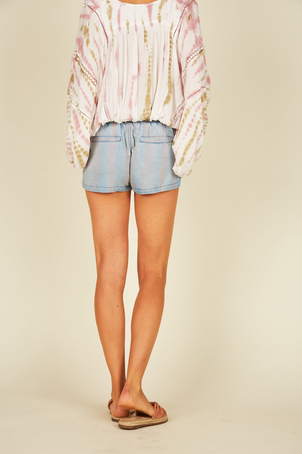 Denim/Coral Striped Tencel Shorts