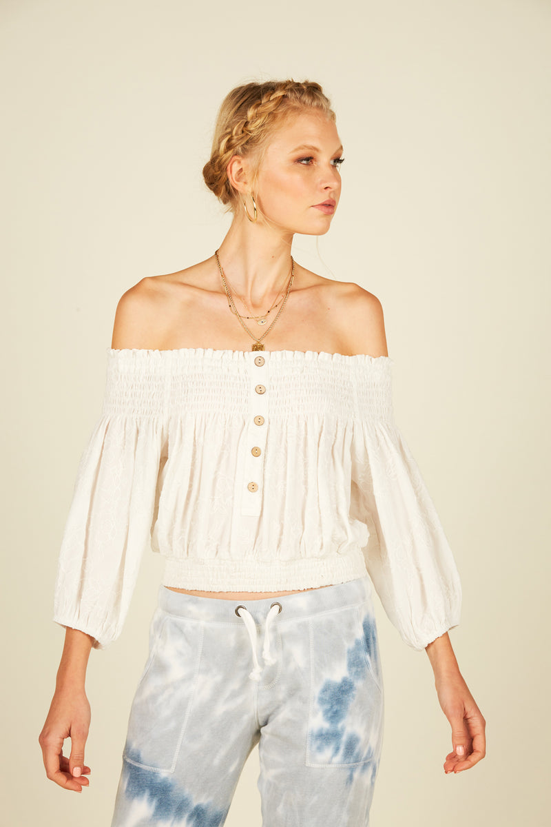 Ivory Smocked Off Shoulder Top