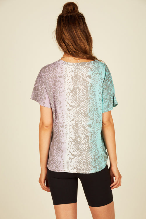 Tri Color Snakeskin Burnout Tee