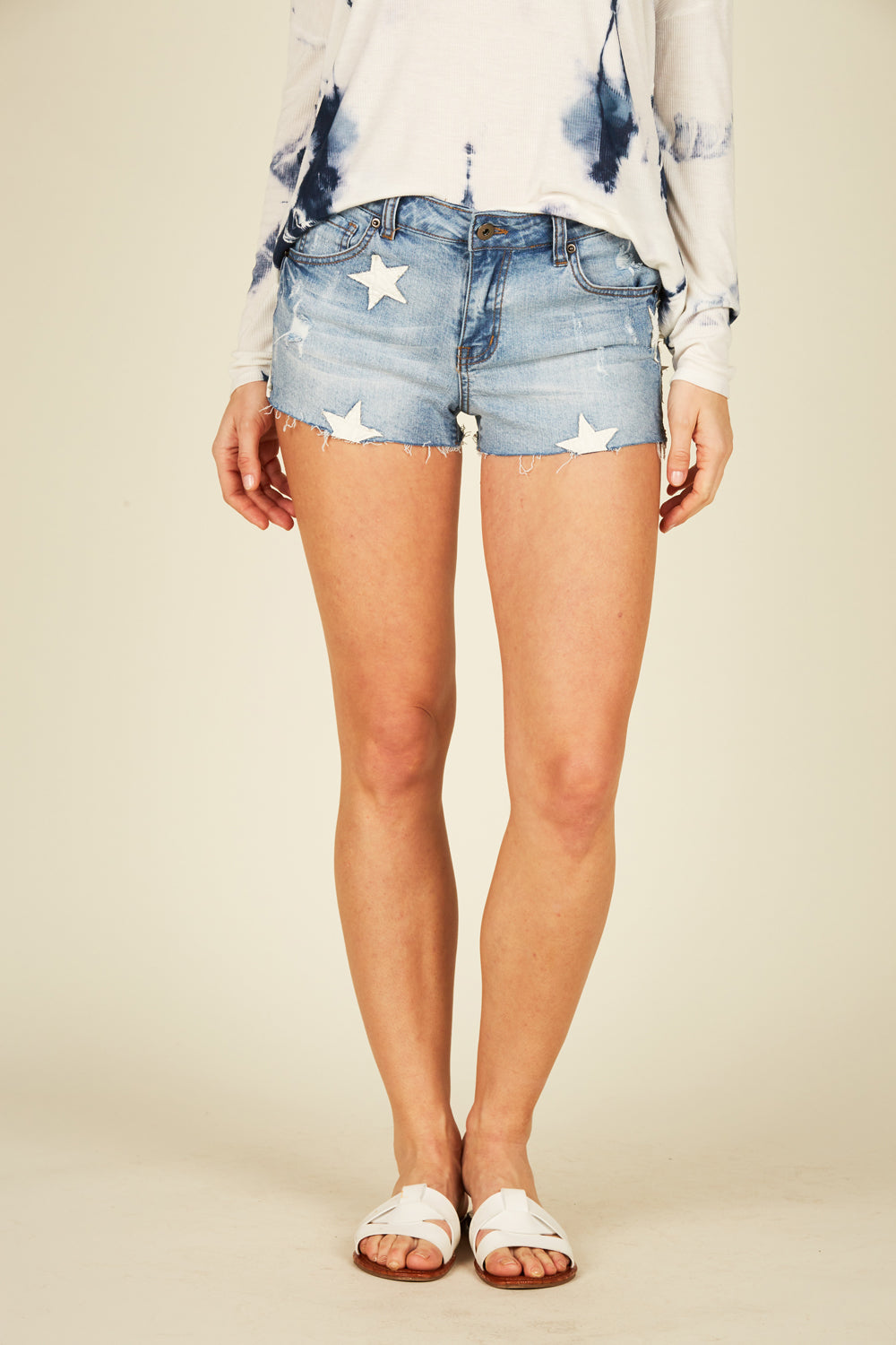 Denim and White Star Shorts
