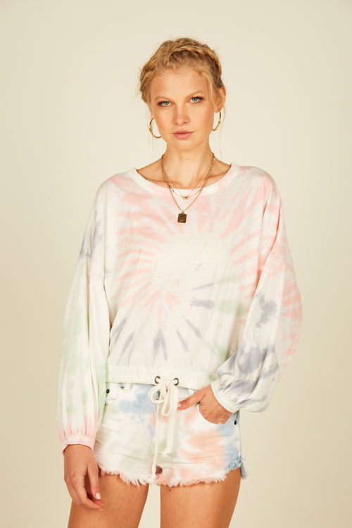Pastel Multi Tie Dye Drawstring Top