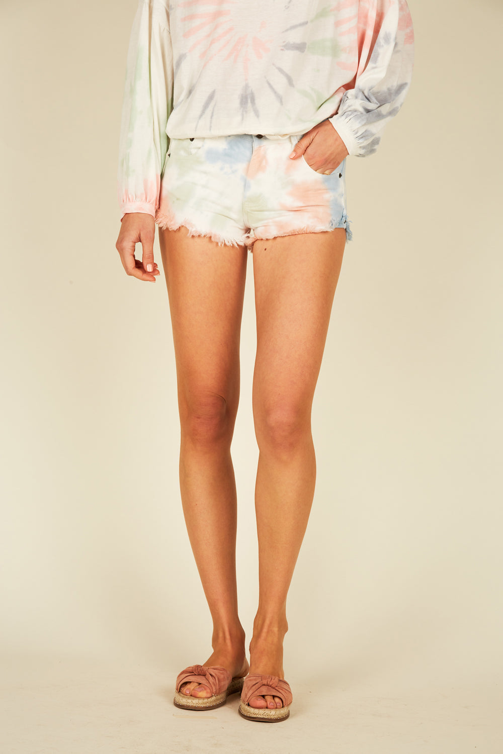 Pastel Swirl Tie Dye Denim Shorts