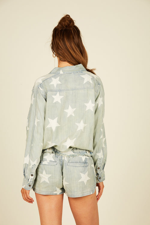 Vintage Denim Wash Star Printed Shirt
