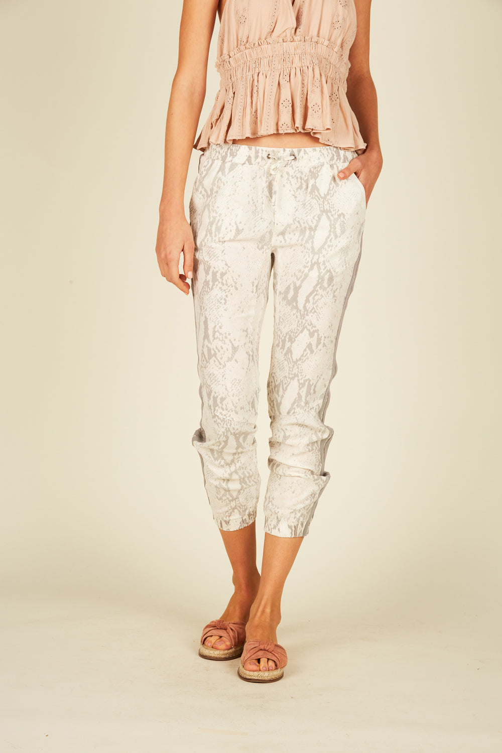 White Snakeskin Tencel Cargo Pants
