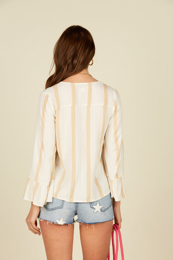 Stripe Texture Bell Sleeve Top