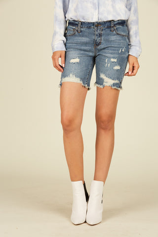 Side Stripe Denim Mini Skirt