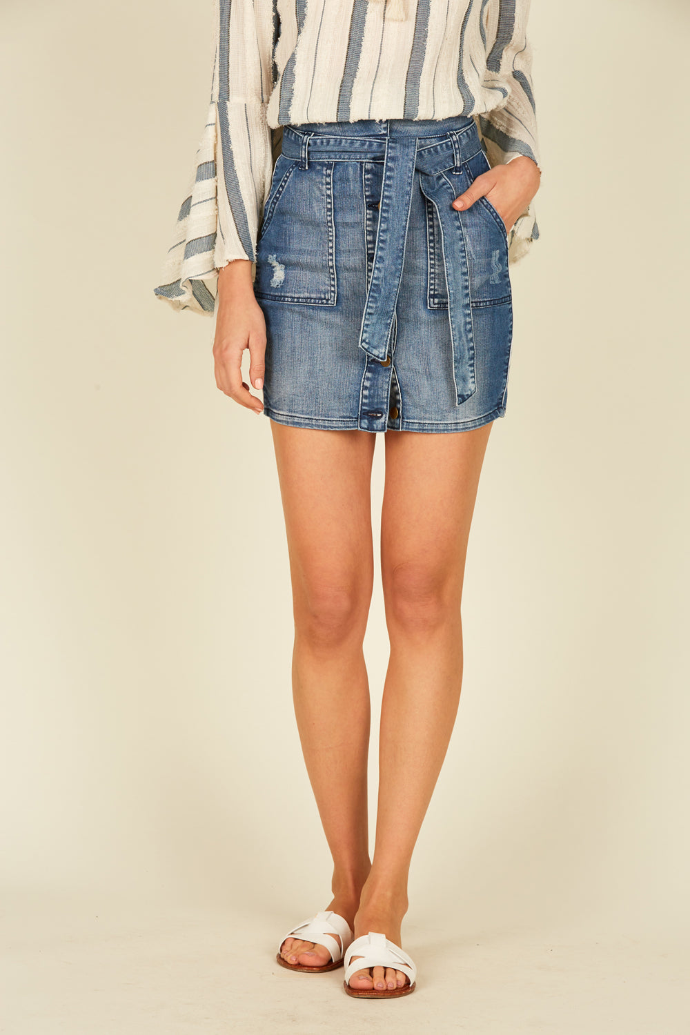 Denim Paperbag Skirt