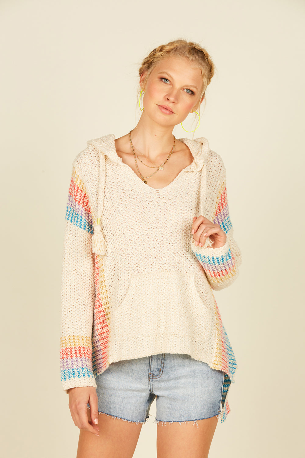 Mixed Stripe Baja Sweater