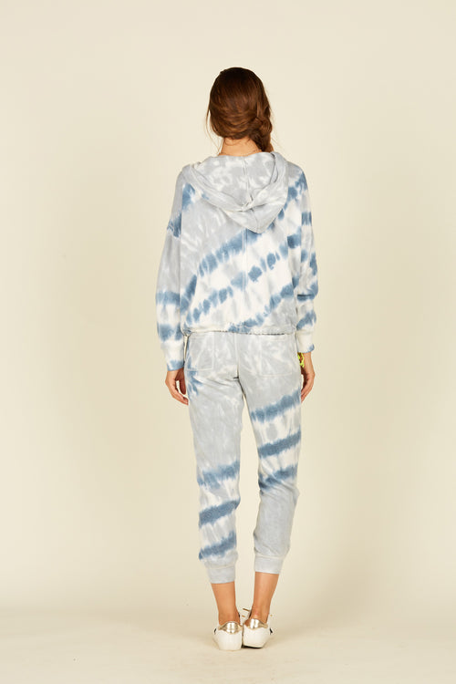 Diagonal Blue Tie Dye Burnout Joggers