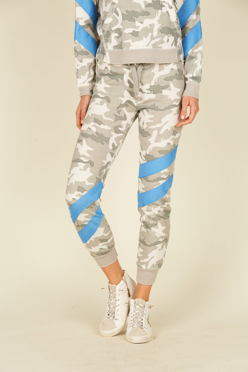 Grey Camo Burnout Joggers W/ Stripe
