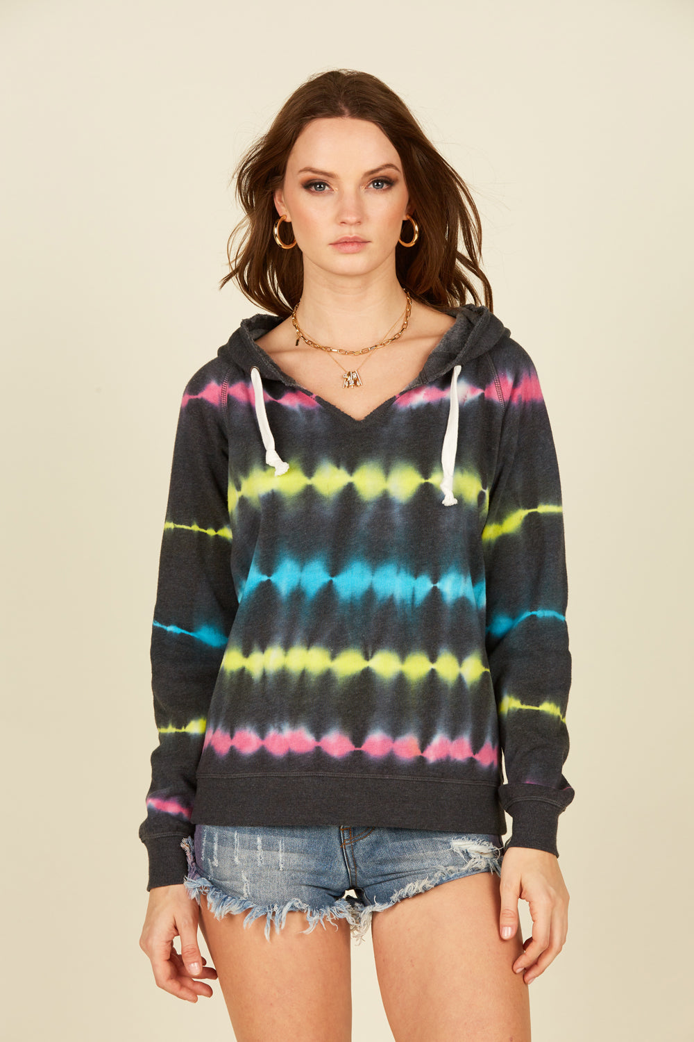 Black Rainbow Tie Dye Fleece Hoodie