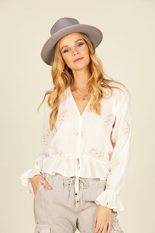 Ivory Swiss Dot Ruffle Top
