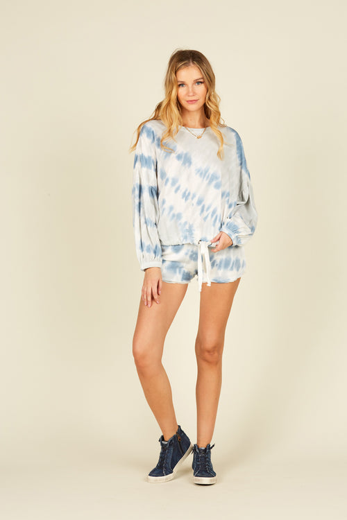 Diagonal Blue Tie Dye Burnout Shorts