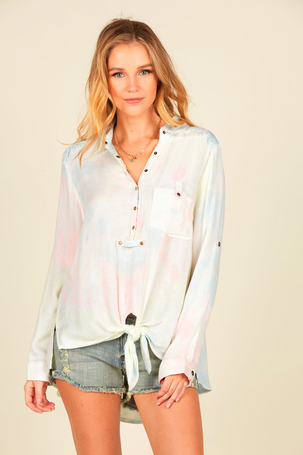 Pastel Neon Swirl Button Down Shirt