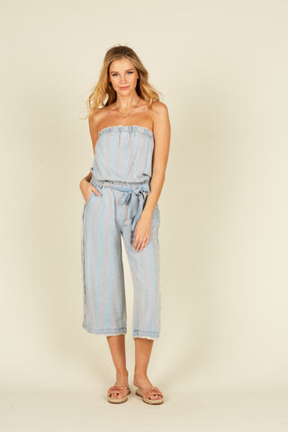 Soft Denim Tropical Blue Print Burnout Overalls