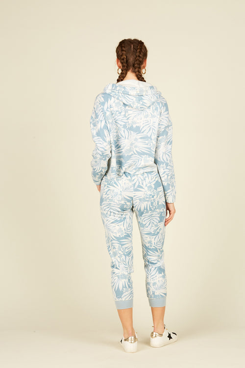 Soft Denim Tropical Print Blue Burnout Jogger