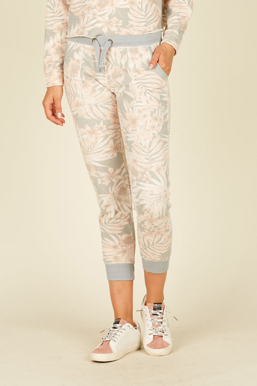 Soft Denim Tropical Print Grey Burnout Jogger