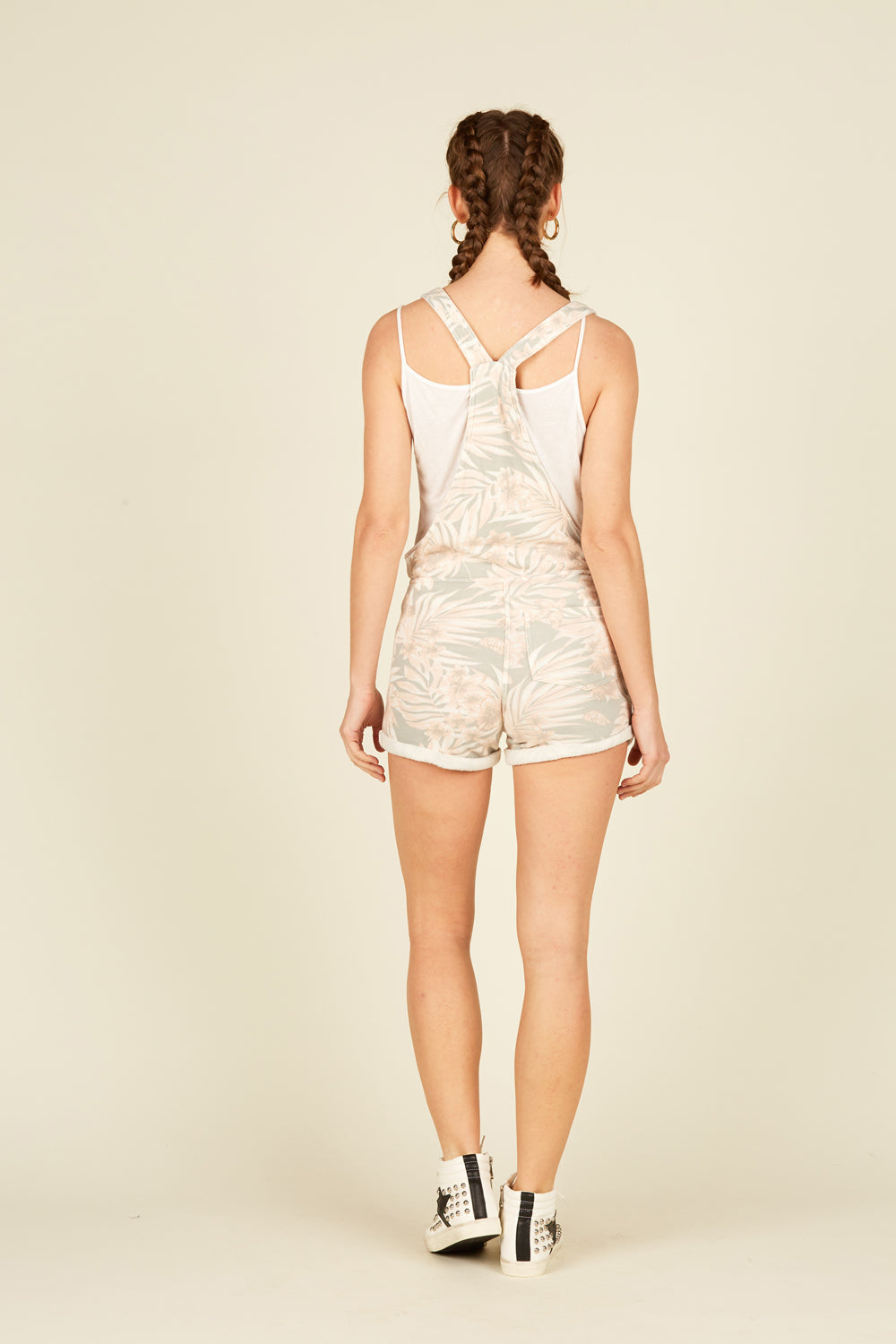 Soft Peach/Grey Tropical Print Burnout Overalls