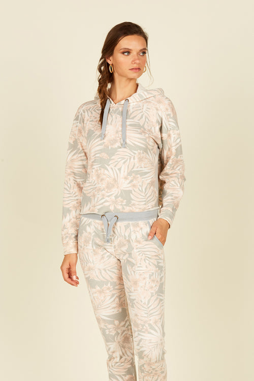 Soft Grey/Peach Tropical Printed Rib Boxy Crop Hoodie