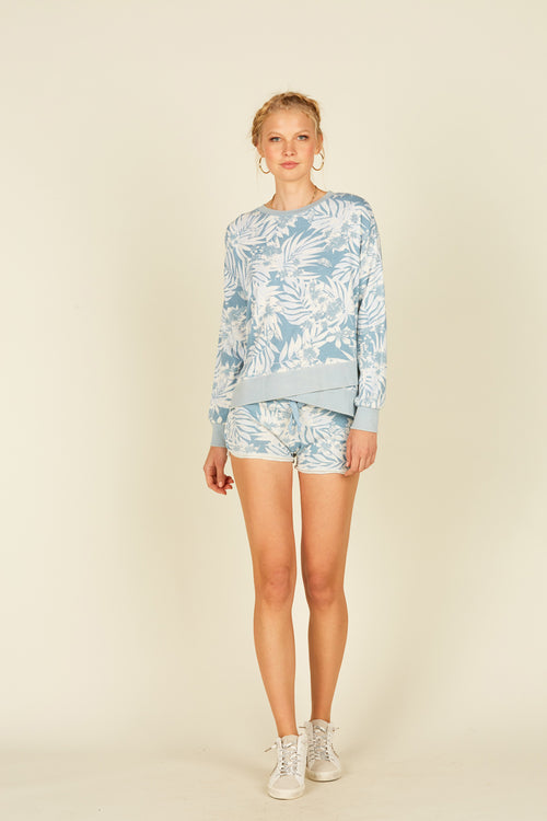 Soft Denim Tropical Printed Burnout Rib Detail Boxy Crewneck