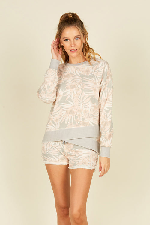 Soft Grey/ Peach Tropical Printed Burnout Rib Detail Boxy Crewneck