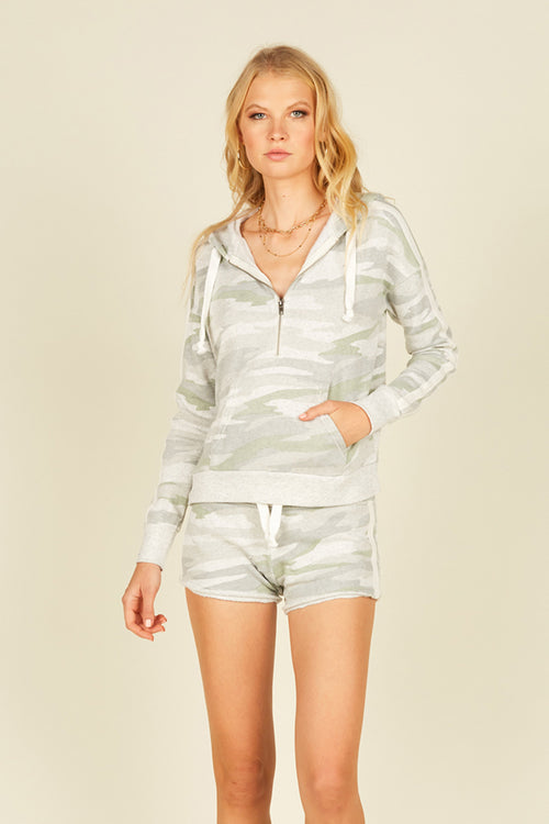 Soft Camo w/ White Striping Half Zip Hoodie