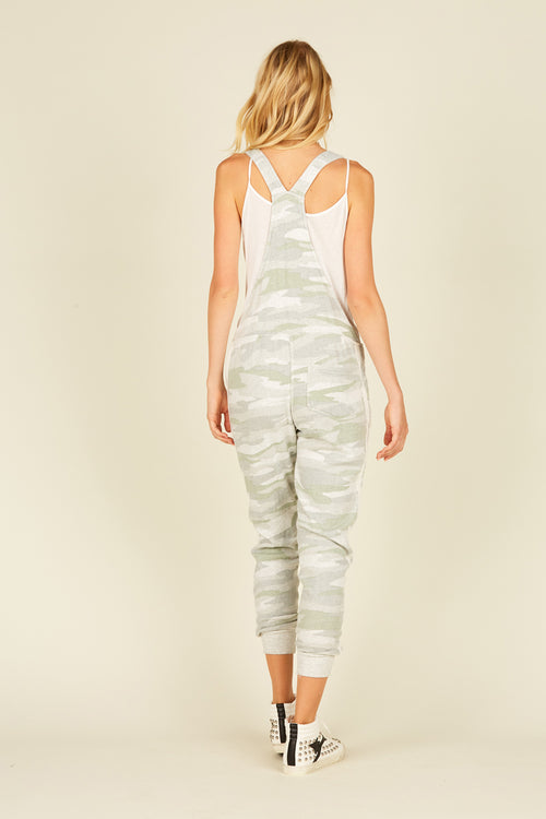 Soft Camo Burnout Fleece Overall Jumpsuit
