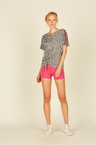 Grey Soft Leopard Shorts
