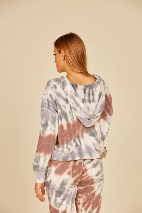 Diagonal Earth-tone Tie Dye Burnout Hoodie w/ Tie Bottom