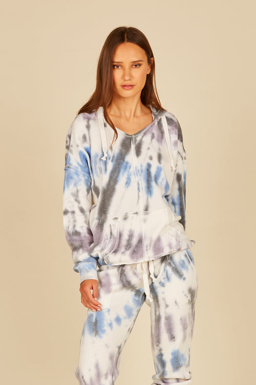 Diagonal Seaside Tie Dye Tie Bottom Hoodie