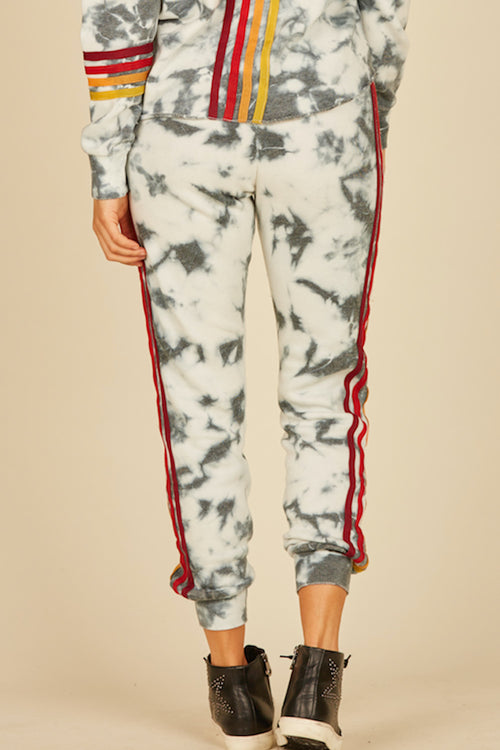 Ivory/Navy Tie Dye Burnout Fleece Joggers