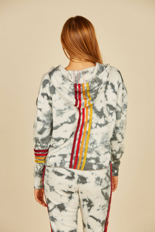 Ivory/Navy Tie Dye Burnout Fleece Hoodie