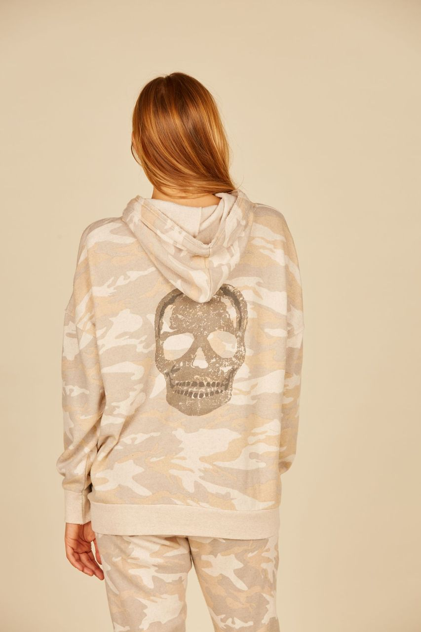 Light Camo w/ Red Heart & Black Star Embroidery Burnout Fleece Hoodie