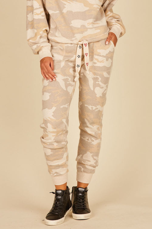 Light Camo w/ Red Heart & Black Star Embroidery Burnout Fleece Joggers