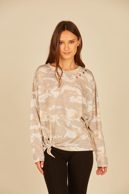 Light Camo w/ Red Heart & Black Star Neckline Burnout Jersey Side Tie Tee