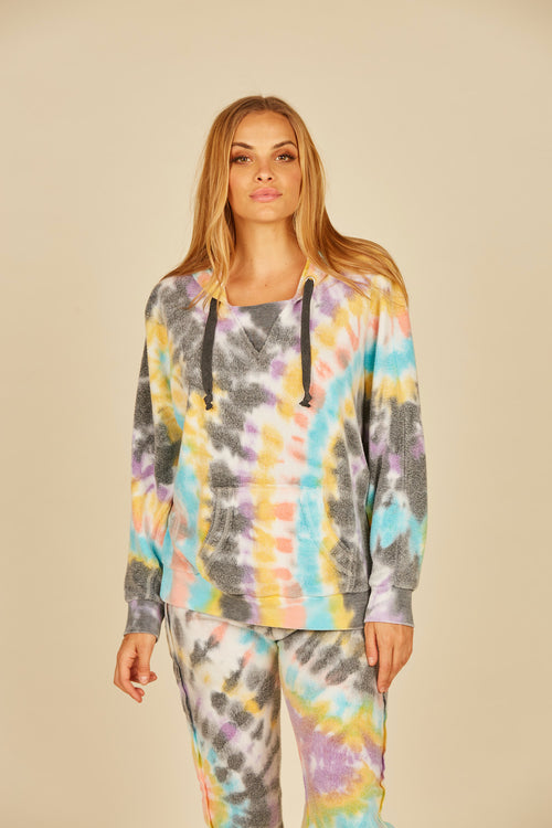 Multi Swirl Tie Dye Reverse Burnout Fleece Hoodie