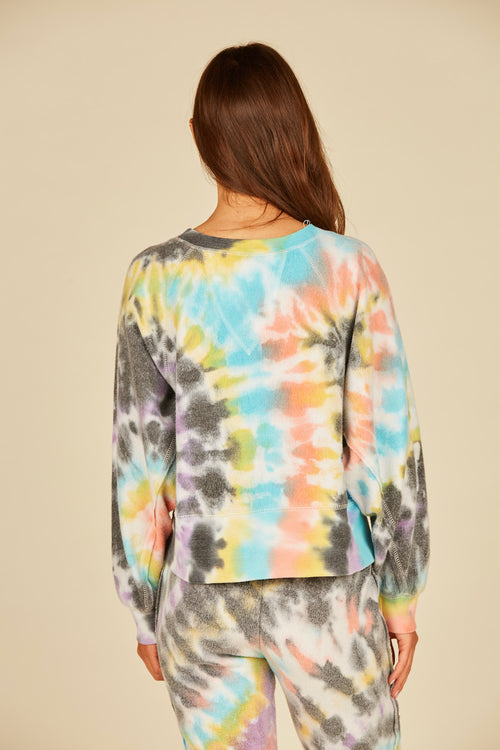 Multi Swirl Tie Dye Reverse Burnout Fleece Crewneck