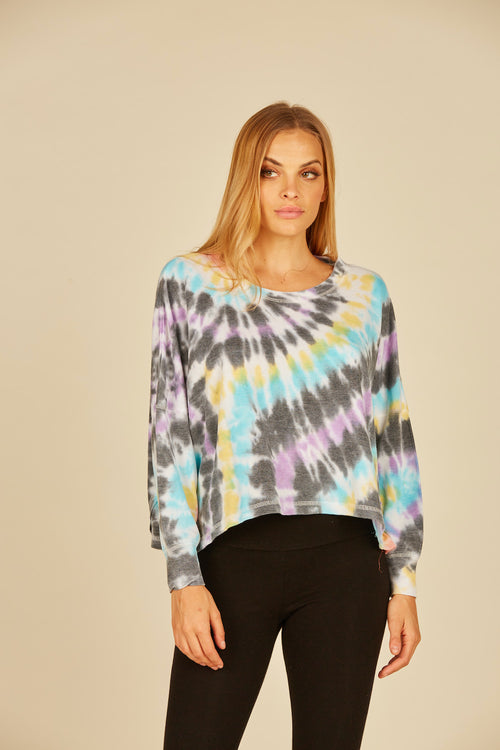 Multi Swirl Tie Dye Reverse Burnout Thermal Long Sleeve Top